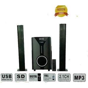 KEY FEATURES Remote 9000watts Bluetooth Aux/Digital FM ready USB Support Sd card 2.1 ch