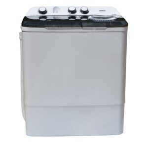 Mika MWSTT2208 - Semi-Automatic Top Load Washing Machine - Twin Tub, 8Kg - White & Grey