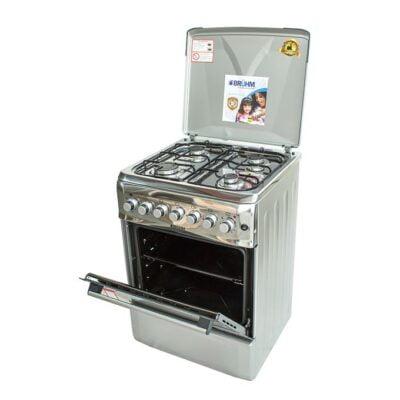 Bruhm BGI 66M40ONSN, Free Standing Cooker, 4 Gas (Metallic Grey) - Silver