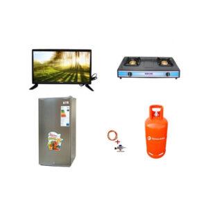 Family Starter Pack 2 32inch tv, 90 litres fridge burner cylinder