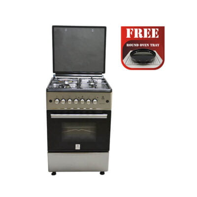 Mika Standing Cooker, 58cm X 58cm, All Gas, Gas Oven, Silver MST60PIAGSL/EM