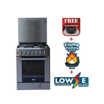 Mika Standing Cooker, 60cm X 60cm, 3 + 1, Electric Oven, Half Inox MST6131HI/WOK
