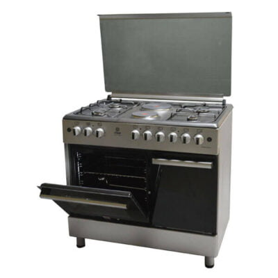 Mika Standing Cooker, 90cm X 60cm, 4 + 2, Electric Oven, Silver MST90PU42SL/GC